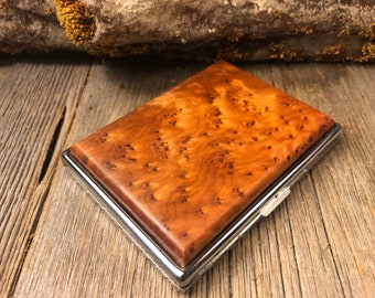 Wood/ Wooden ,Business/ Credit card,Wallet, Cigarette Case: AAAAA Gallery grade, highly aromatic, Moroccan Thuya Burl