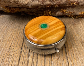 Wood/ Wooden Pill box, keepsake case: Mediterranean Olive wood, 3 Compartments, 1 Compartment