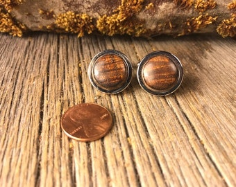 Wooden Cufflinks: Hawaiian Curly Koa, 15mm, round