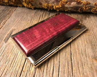 Wood/ Wooden Business /credit card case/holder: AAAAA Purple Heart