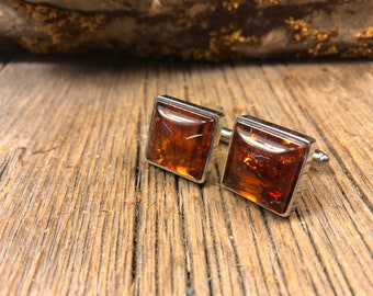 French Cuff link: AAAAA Baltic Amber 16/18 mm square