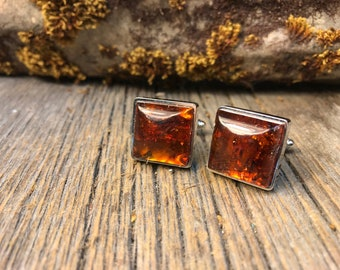 French Cufflinks: Baltic Amber 16/18 mm, square