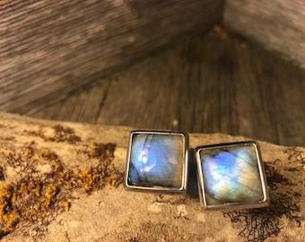 French Cufflinks: Blue Fire Labradorite, 14/17mm square