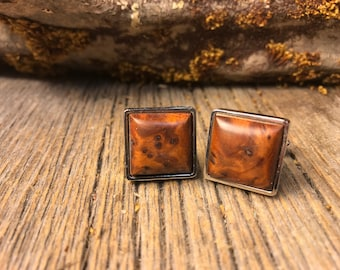 Wood/ Wooden French Cufflinks: AAAA Gallery grade Morrocan Thuja Burl, square, 16/18mm