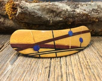 Wood/ Wooden Barrette/ Hairclip: Yellow heart ( Medium)