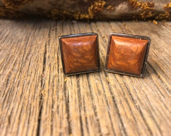 Wood/ Wooden French Cufflinks: Australian Lacewood, square , 16/18 mm