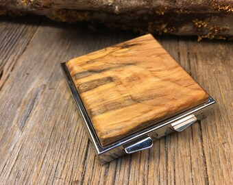 Wood/ Wooden Pill Box/ Keepsake container: AAAAA Spalted Maple, 4 partitions, 1 compartment