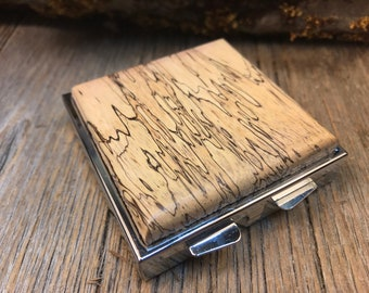 Wood/Wooden Pill box/ Keepsake container/ Make up container: AAAA Spalted Tamarind, 4 partitions, 1 compartment