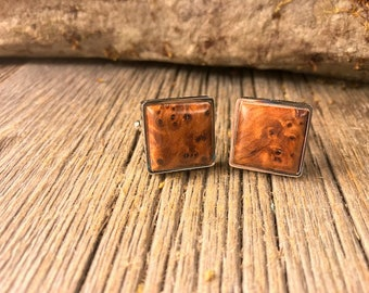 Wooden French Cufflinks: AAAA Moroccan Thuja Burl, 16/18 mm, square