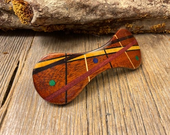 Wood/ Wooden Hair Barrette/ Hairclip: AAAAA Gallery grade Honduran Mahogany ( Large)