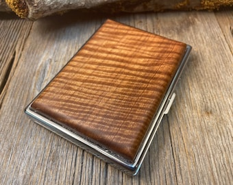 Wood/ Wooden, Business/ Credit card, Wallet,  Medicinal Herb/Cigarette Case: AAAAA Gallery grade extremely curly Sateen wood