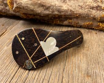 Wood/ Wooden Barrette/ Hairclip; AAAAA Gallery grade Black Palm ( Medium)