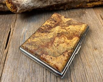 Wood/ Wooden ,Business/ Credit card,Wallet, Medicinal Herb/ Cigarette Case: AAAAA Instrument grade Spalted Big Leaf Birdseye Maple Burl
