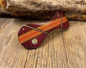 Wood/ Wooden Hair Barrette/ Hairclip: AAAAA Gallery grade Purple Heart (Large)