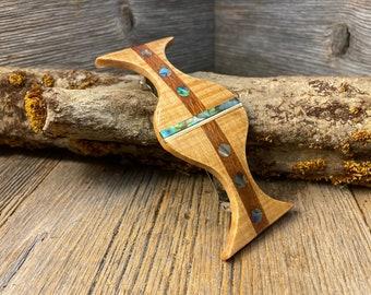 Wood/ Wooden Hair Barrette/ Hairclip: AAAAA Gallery grade Curly Maple