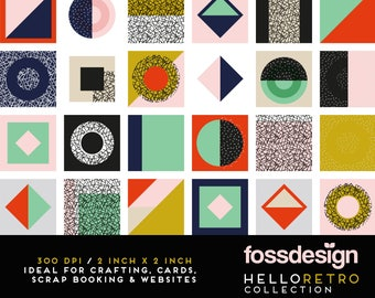 Exclusive Hello Retro / Digital Elements by Fossdesign / Mid-Century  / Pattern / Printable / High Res / Instant Download