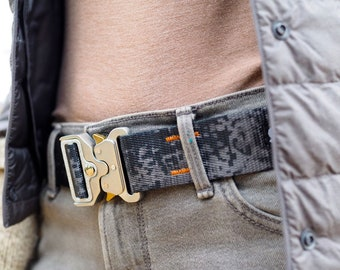 Fauxbra Buckle Belt - Gray Digital Camo with Silver Metal Buckle