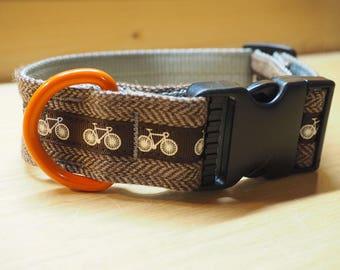 Dog Collar - Brown Herringbone Tweed with Bikes