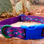 Dog Collar - Purple Southwestern Design with Blue Buckle