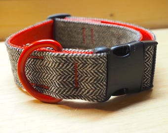 Dog Collar - Black Herringbone Tweed