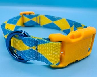 "Dog Collar -1.5""- Blue and Yellow Argyle"