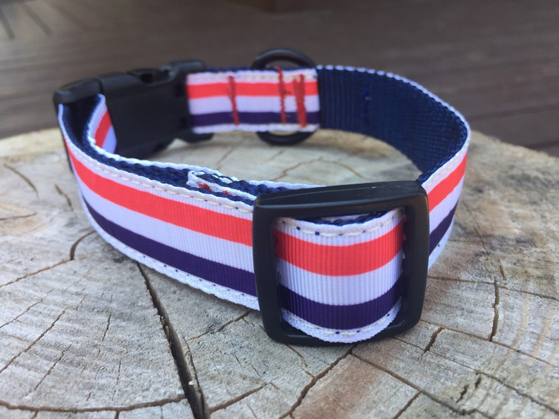 Medium White and Blue Stripe Dog Collar Red