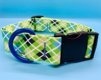 "Dog Collar - 1.5""- Blue and Green Argyle"