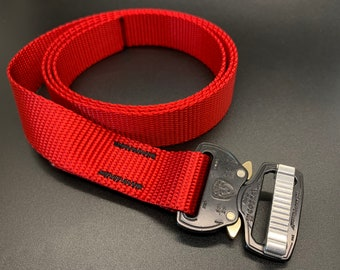 Cobra Buckle Belt - One Inch - Red with Black Buckle
