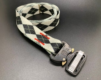 Cobra Buckle Belt - One Inch - Black and White Argyle with Black Buckle