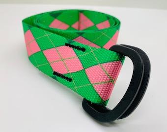 "Fat Belt- 1.5""- Pink and Green Argyle"