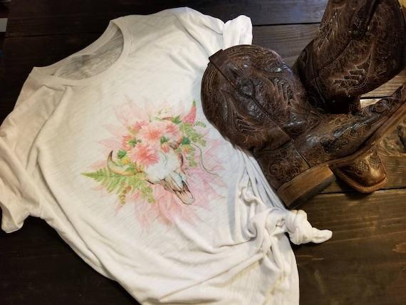 f34734600 Boho Shirt Boho Cow Skull Shirt Boho Floral Shirt Country