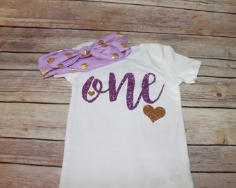 One girls birthday outfit, cake smash outfit, lavender birthday outfit, girls 1st birthday, 1st birthday outfit, first birthday shirt