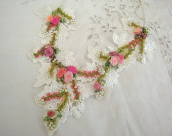 Rose garden necklace; lace and organza roses