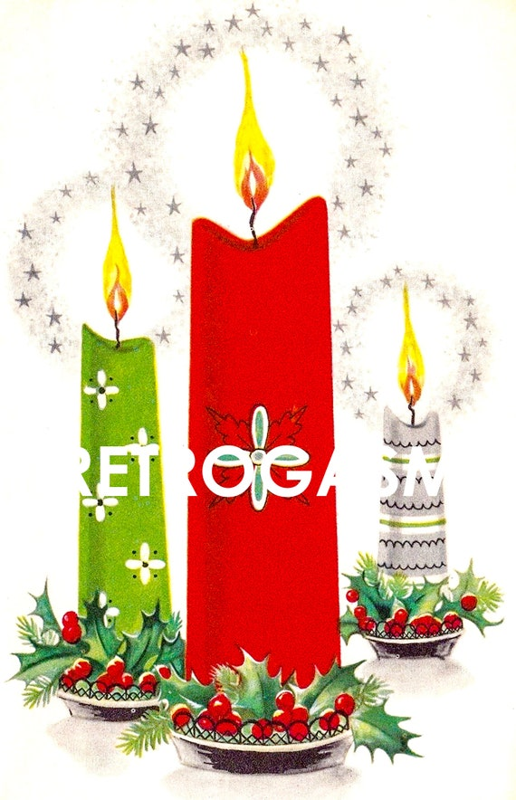 Vintage Christmas Candles.Retro Christmas Candles Printable