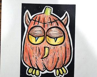 Autumn Owl, Linocut hand colored with oil pencil, Printmaking
