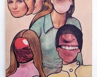 Sisters, Collage Surreal, Vintage Paper Ephemera Art