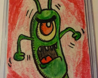 Plankton ACEO card, Spongebob, Drawing