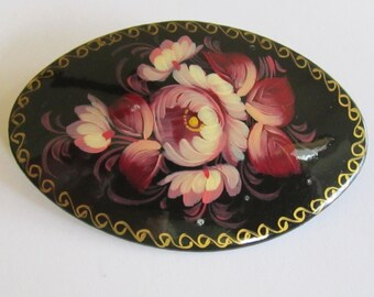 Vintage Pin Brooch Oval Black Lacquer With Pink Maroon Flower Russia Signed Used