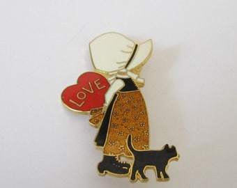 6b3b63d4d34ed1 Vintage American Greeting Card Holly Hobbie Metal Pin with Red Heart and  Black Cat from Taiwan