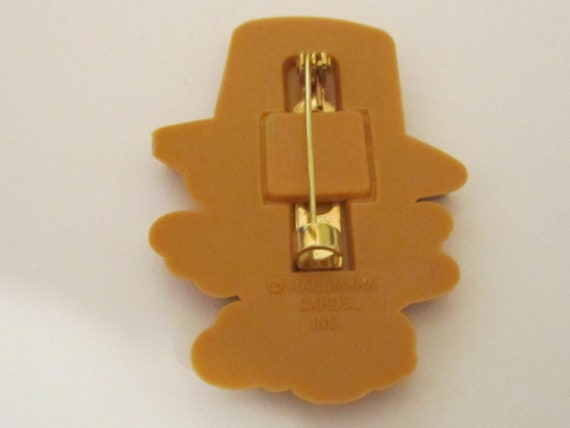 Vintage Hallmark Plastic Turkey Pin Dressed Like a Pilgrim