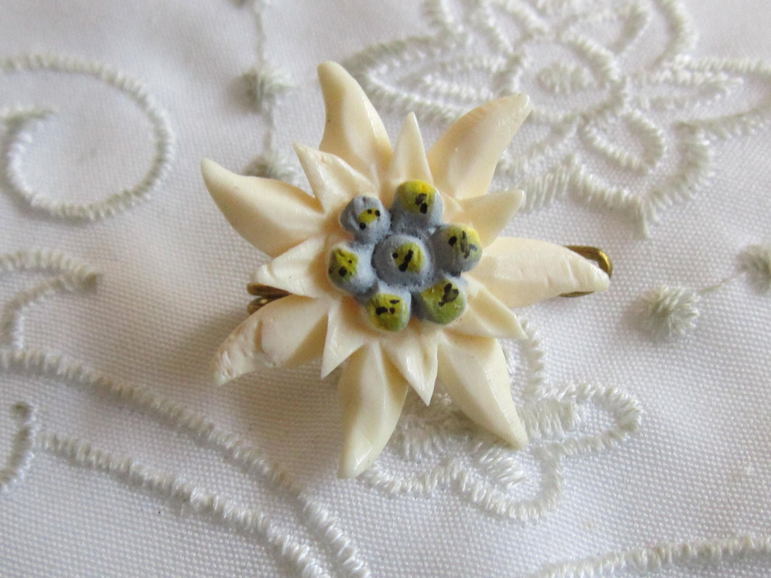 Vintage white china flower with light blue center pin etsy vintage white china flower with light blue center pin izmirmasajfo