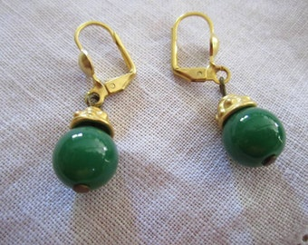 Vintage Gold Tone Glass Jade-Colored Beaded Pierced Earrings