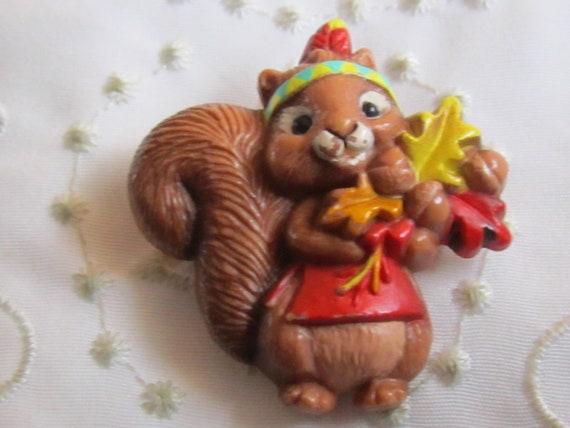 Vintage Hallmark Plastic Thanksgiving Squirrel Pin With Autumn Etsy