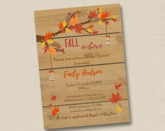 fall in love custom bridal or baby shower invitation design or any occasion