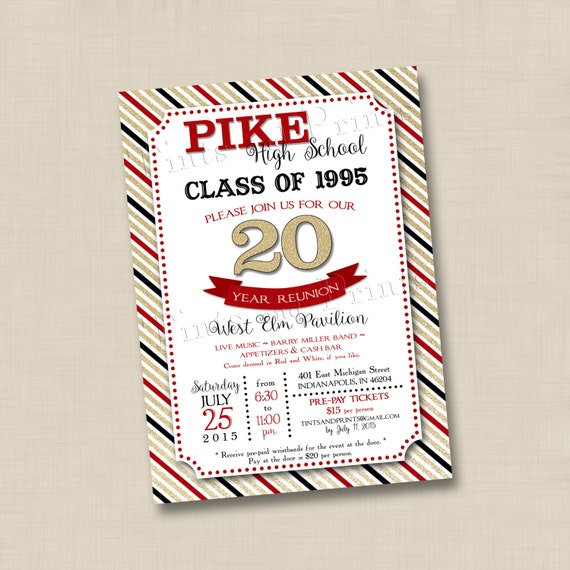 Class Reunion With Bling Custom Invitation Design Any Year Etsy