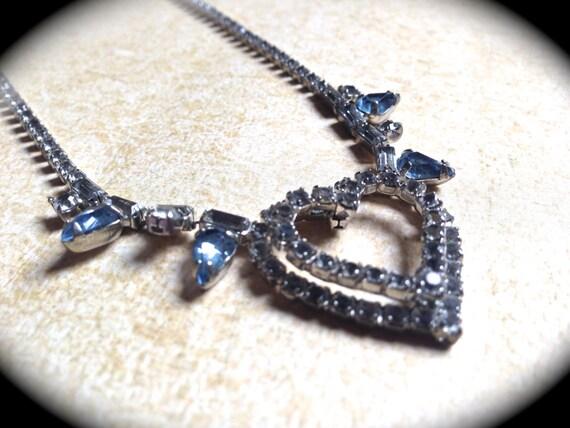 Rhinestone Heart Necklace, Rhinestone Bridal Hear… - image 1