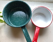 Soups On Vintage Graniteware Set of 2, Camping Country Farmhouse Decor Red and white and Spatter Green Enamelware Pots Retro kitchen