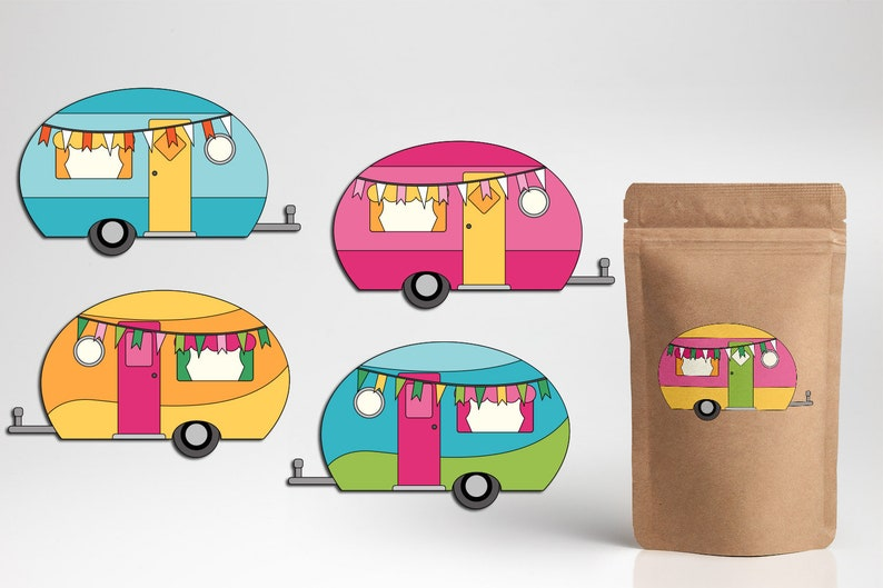 Happy Camper Clip Art PNG commercial use, RV camping caravan clipart,  digital download