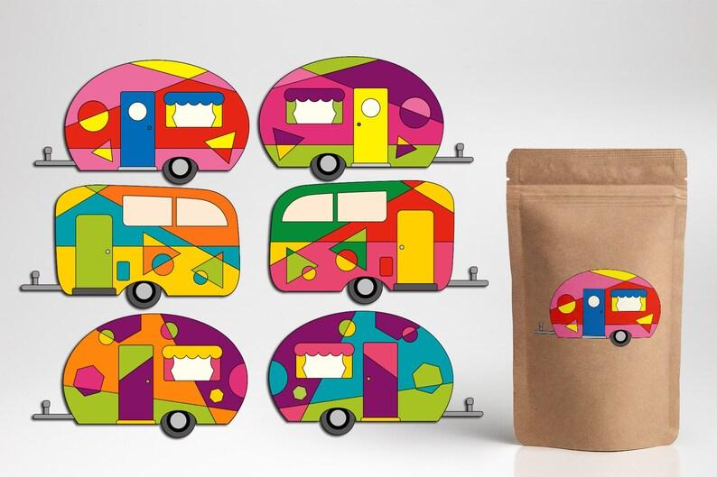 Happy Camper Clip Art, Pop Art RV Camping Caravan Clipart Commercial Use,  Digital Download