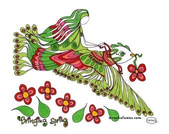 Bringing Spring. Art print by Rachel Awes